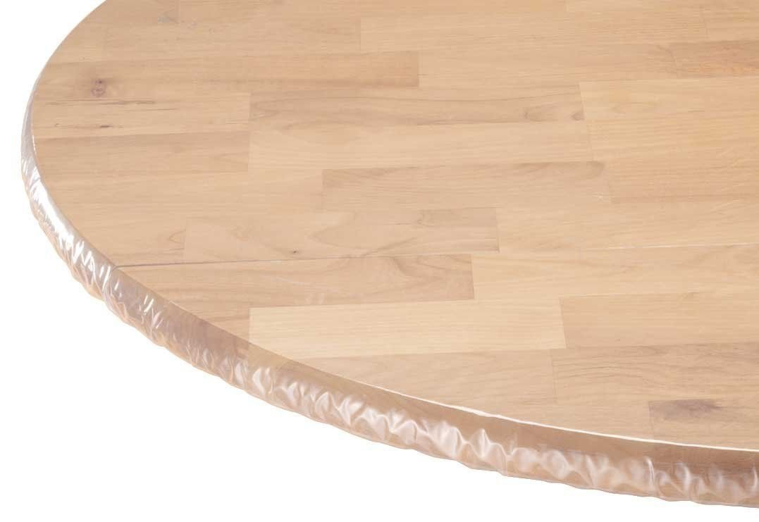Heavy Duty Clear Vinyl Round Fitted  Tablecloth (Table Cover) Elasticized Tablecloth.jpg